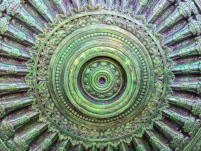 Wheel,Of,Dharma,,,Green,Circular,Center